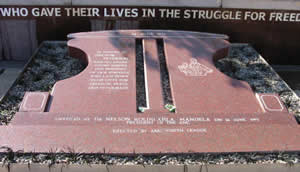 the memorial unveiled by president Nelson Mandela near Khumalo street close to where Hector was shot